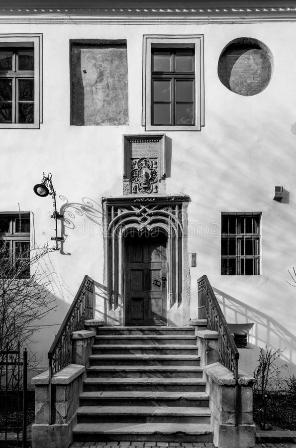 Beautiful medieval architecture and building entrance in Sibiu, Romania royalty free stock image