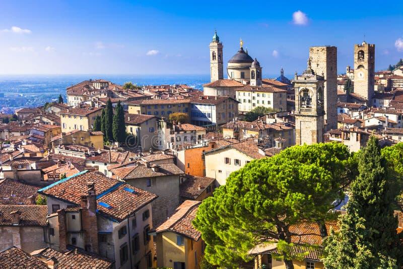 Beautiful medieval Bergamo, Lombardy,. Landmarks of Italy - beautiful town Bergamo, Lombardy, Italy royalty free stock photos