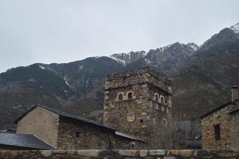 Beautiful Medieval Buildings With The Tower Of The Infanzones Between Them In Benasque. Travel, Landscapes, Nature, Architecture. December 27, 2014. Benasque royalty free stock image