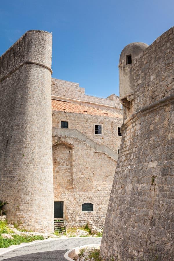 Beautiful medieval built Dubrovnik city walls stock photography