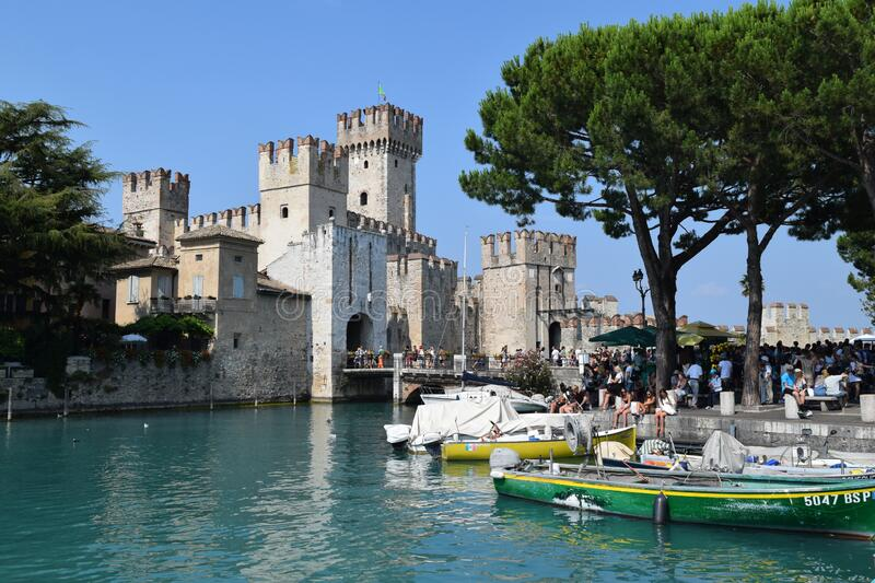 Beautiful medieval castle in Sirmione Garda lake Italy Europe. Awesome towers royalty free stock images