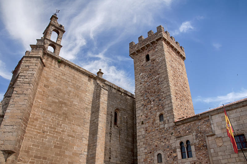 Beautiful medieval city of Caceres in Extremadura. Loitering through the ancient streets of the city of Cceres stock photo