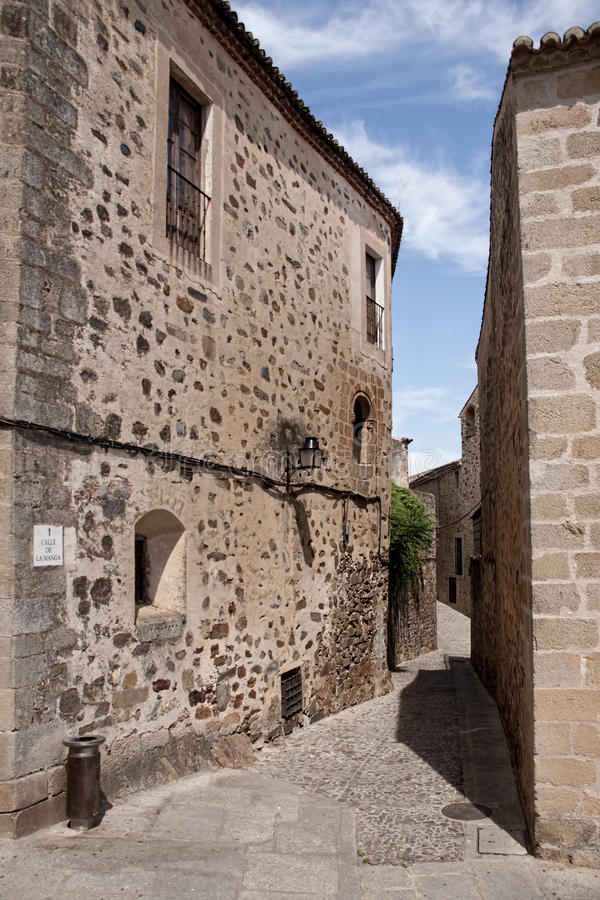 Beautiful medieval city of Caceres in Extremadura. Loitering through the ancient streets of the city of Cceres royalty free stock photos