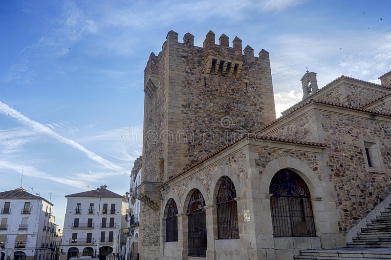 Beautiful medieval city of Caceres in Extremadura. Loitering through the ancient streets of the city of Cceres royalty free stock photo