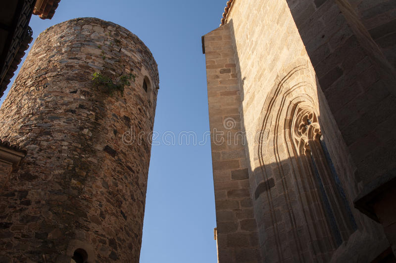 Beautiful medieval city of Caceres in Extremadura. Loitering through the ancient streets of the city of Cceres stock photography