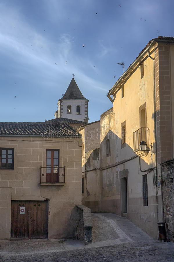 Beautiful medieval city of Caceres in Extremadura. Loitering through the ancient streets of the city of Cceres royalty free stock images