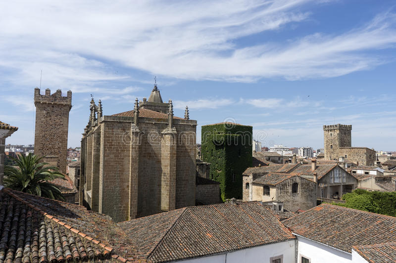 Beautiful medieval city of Caceres in Extremadura. Loitering through the ancient streets of the city of Cceres stock image
