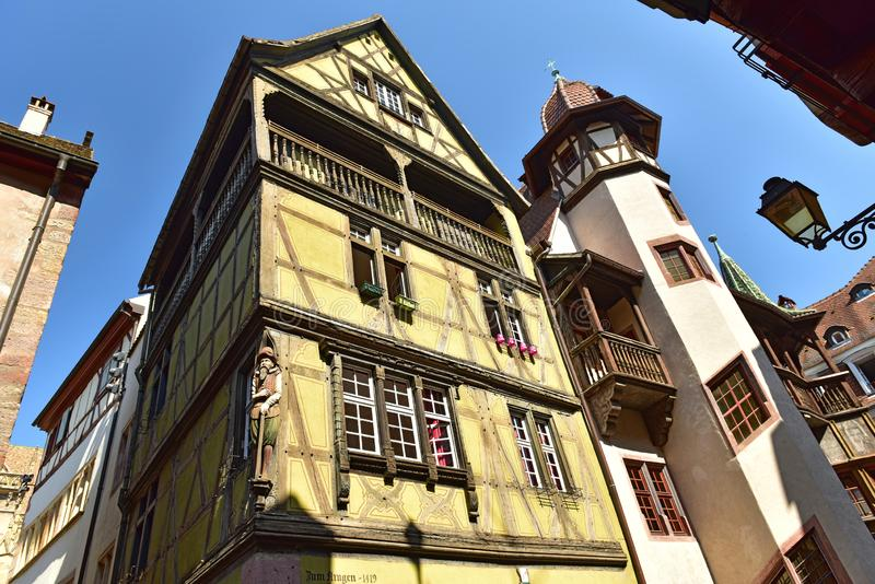 Beautiful medieval houses in the historical town centre. Colmar, France royalty free stock photos