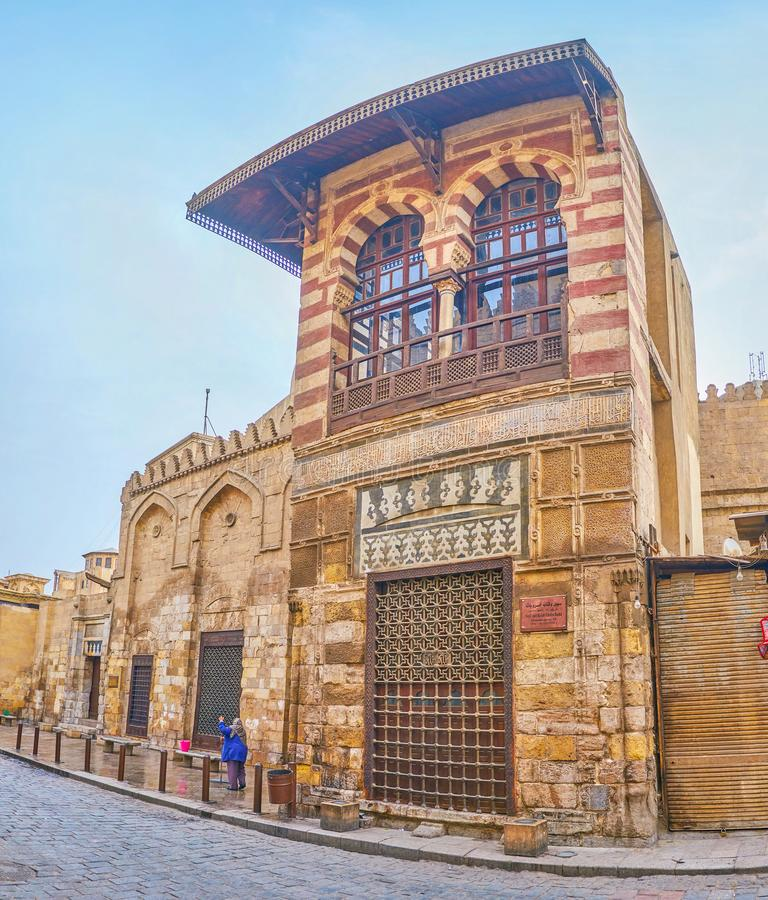 The medieval Sabil and Kuttab in Islamic Cairo, Egypt. The beautiful medieval Khesro Basha Sabil Kuttab, imbedded to Al-Salih Najm al-Din Ayyub complex, faced to stock photography