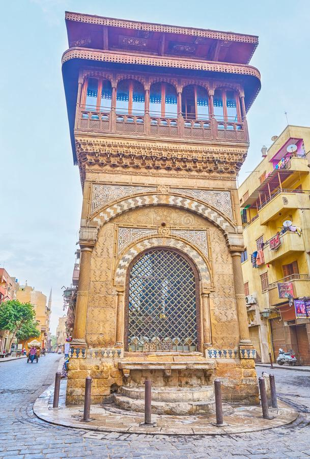 The beautiful medieval Sabil-Kuttab in Islamic Cairo, Egypt. CAIRO, EGYPT - DECEMBER 23, 2017: The frontage of medieval Sabil-Kuttab of Katkhuda decorated with royalty free stock image