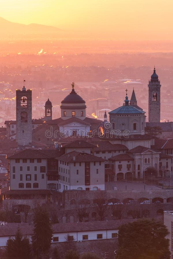 Beautiful medieval town at sunrise morning with main sights of Bergamo Lombardy from Castello di San Vigilio, Italy stock images