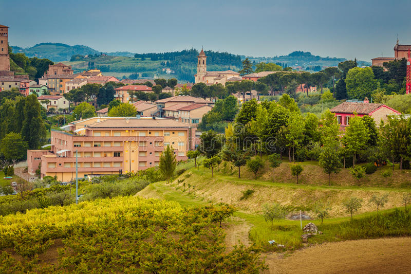 Beautiful medieval village on a hilltop royalty free stock image