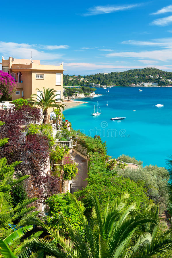 Beautiful mediterranean landscape. View of luxury resort and bay of Villefranche-sur-Mer, Cote d'Azur, french riviera, France near Nice and Monaco stock image