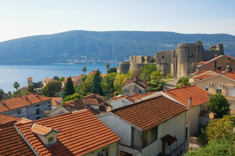 Beautiful Mediterranean landscape. Montenegro. View of Herceg Novi city stock photos