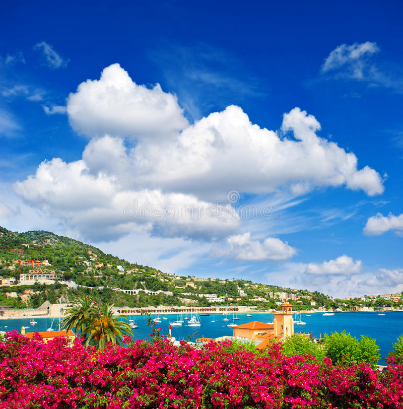 Beautiful mediterranean sea landscape with cloudy blue sky. French riviera near Nice and Monaco stock images