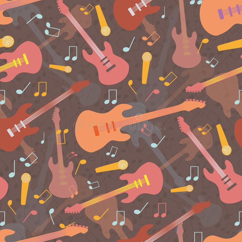 Beautiful mellow guitar and music design in multicolor hues of orange and pink. Seamless vector pattern on warm brown royalty free illustration