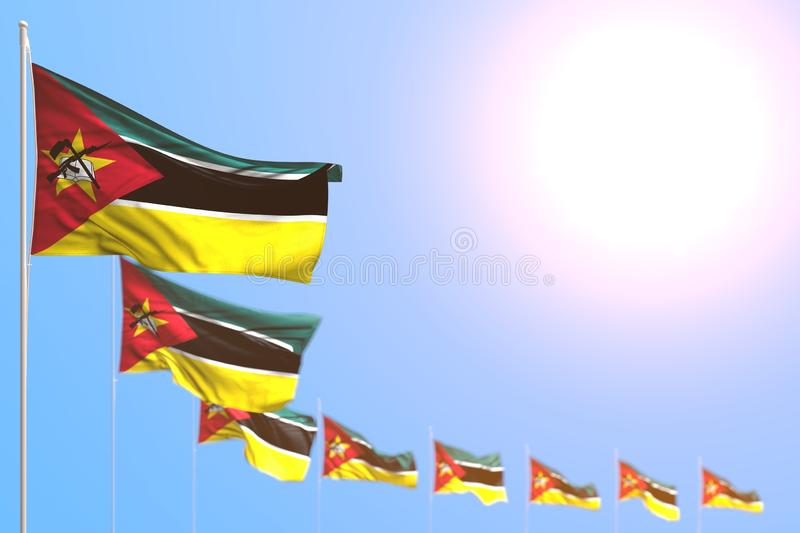 Beautiful memorial day flag 3d illustration - many Mozambique flags placed diagonal with selective focus and empty place for your. Pretty many Mozambique flags vector illustration