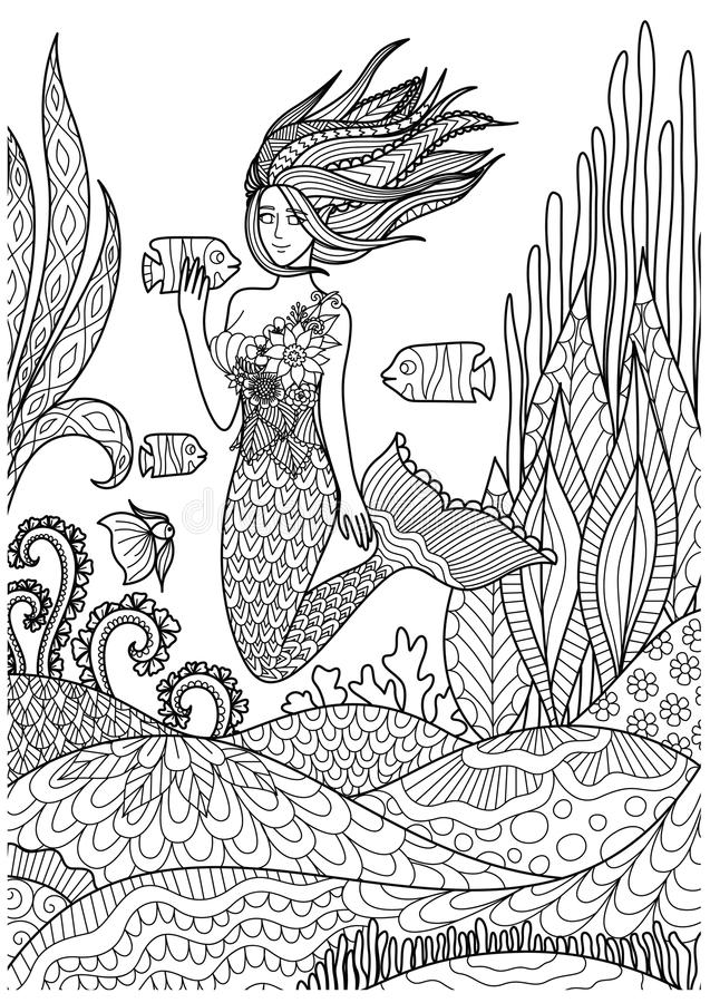 Beautiful mermaid playing with fish under the ocean with amazing corals design for adult coloring book pages. Vector illustration stock illustration