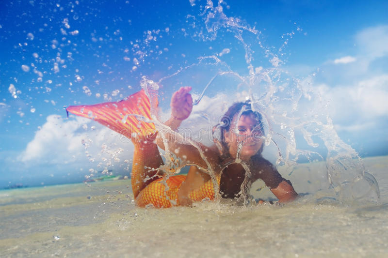 Beautiful mermaid in the tropical sea royalty free stock photography