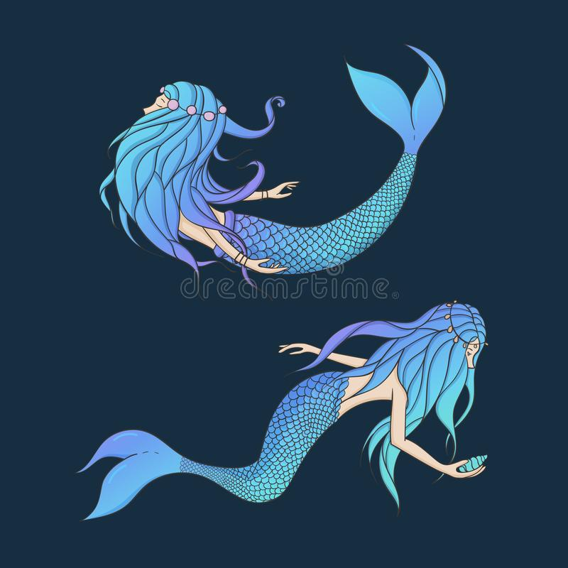 Beautiful mermaids vector set. Underwater mythical creatures iso. Lated on the dark background. Fantasy women royalty free illustration