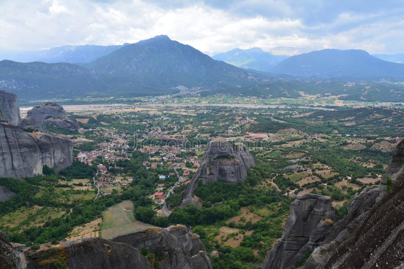 Beautiful Meteora Monasteries in Greece. The picturesque monasteries of Meteora in the northern part of Greece, an amazing series of several monasteries lost in stock photography
