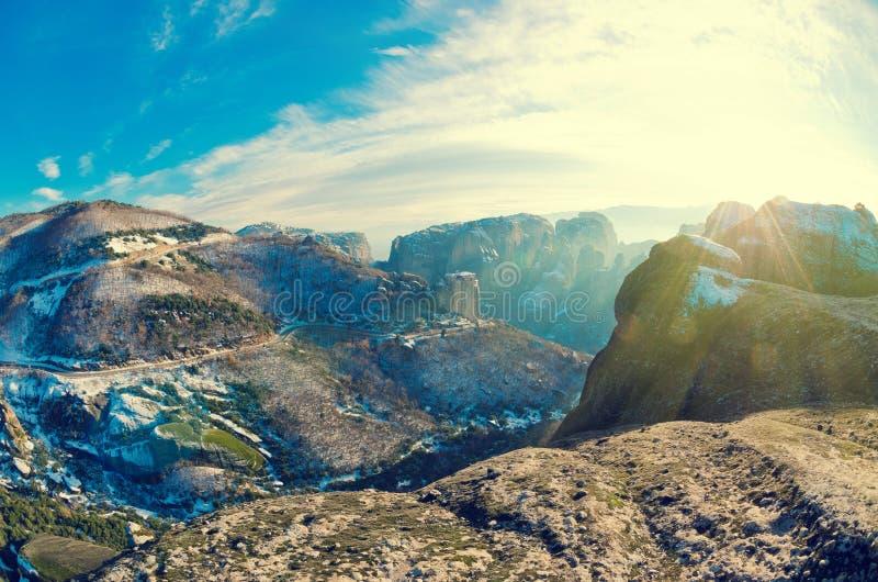Beautiful Meteora mountains landscape. Nature of Greece. Meteora monasteries in winter. Fisheye Lens view stock photos