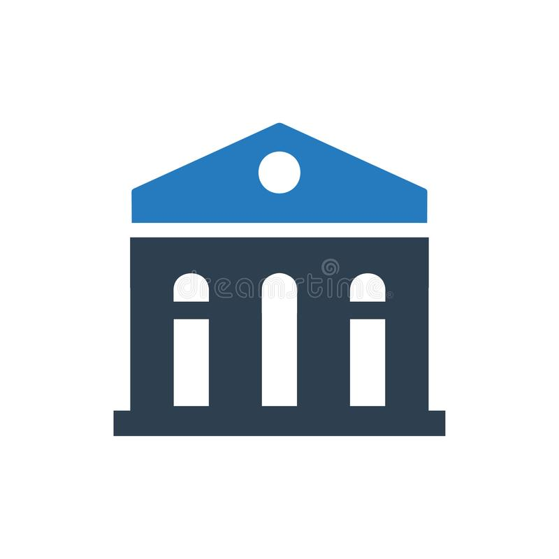 Bank Building Icon. Beautiful, Meticulously Designed Bank Building Icon stock illustration