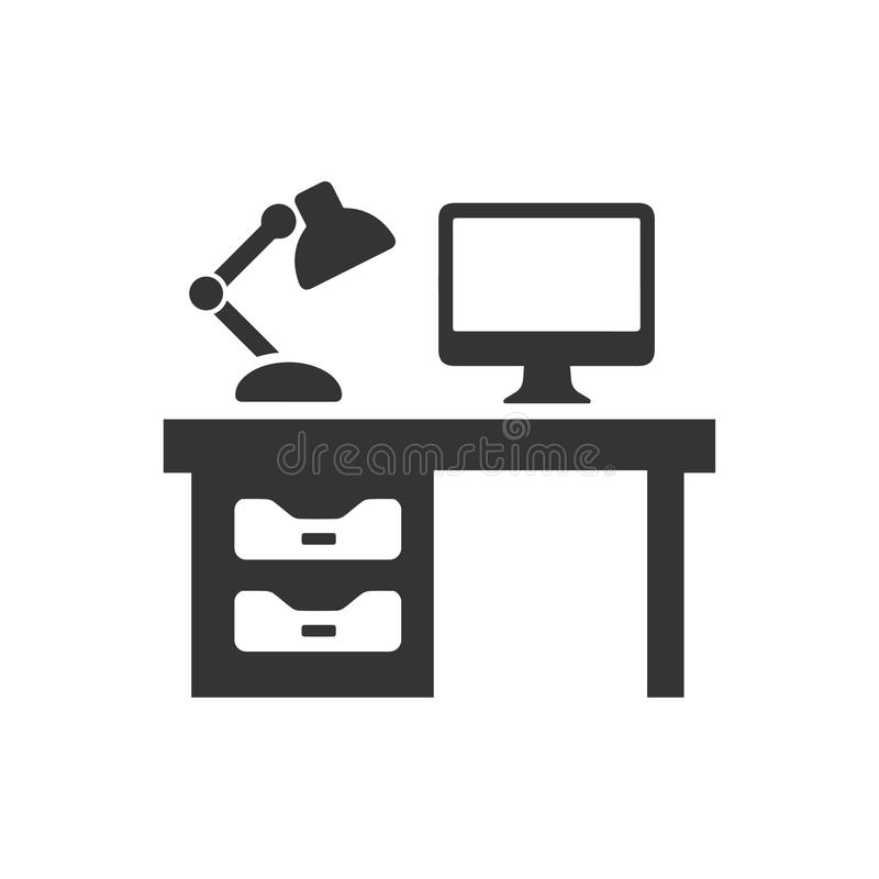 Computer Desk Icon royalty free illustration
