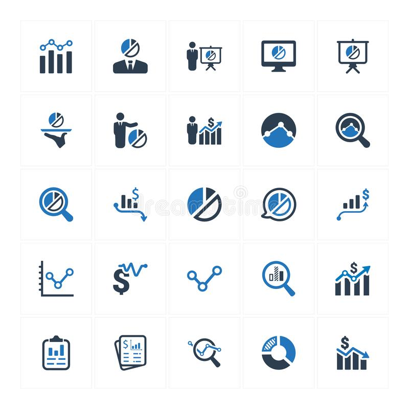 Graph and Diagram Icons_ Blue Version Set 1 vector illustration