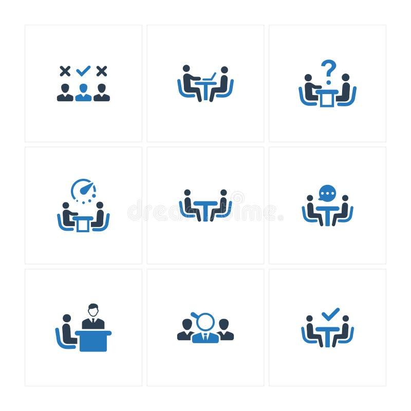 Job Interview Icons - Blue Version stock illustration