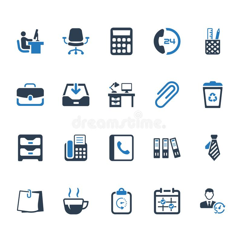 Office Icons - Blue Version vector illustration