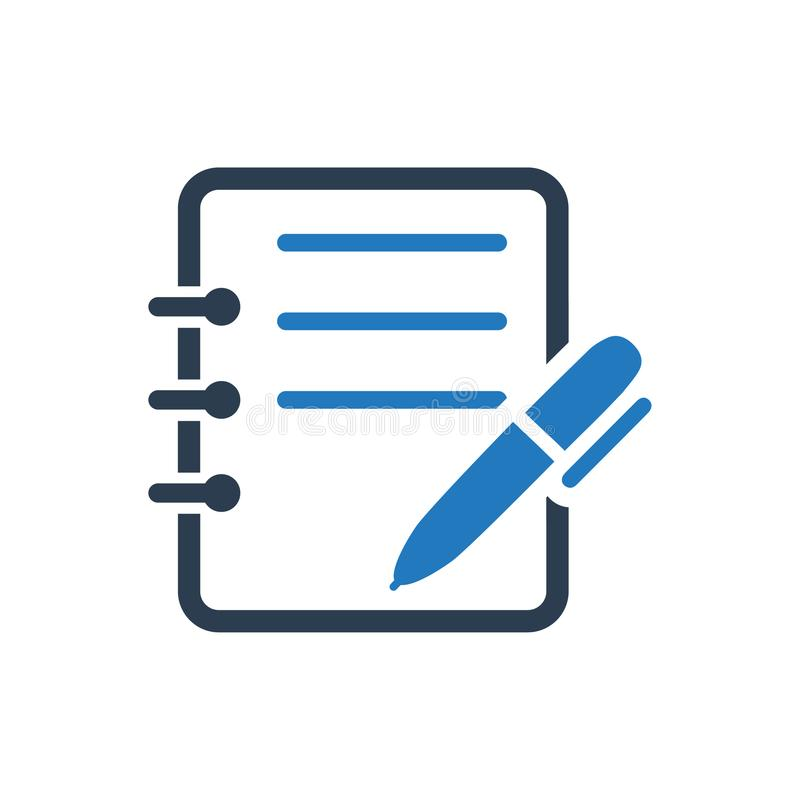 Write Note Icon. Beautiful, meticulously designed Write Note Icon. Perfect for use in designing and developing websites, printed materials and presentations royalty free illustration