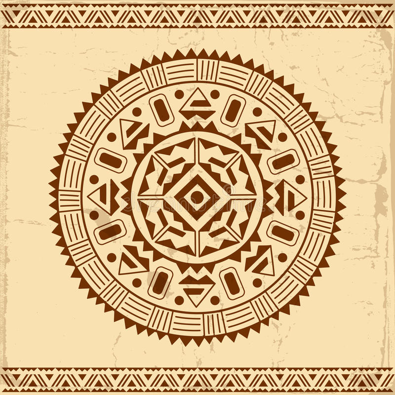 Beautiful Mexican ethnic ornament. On grunge background royalty free illustration