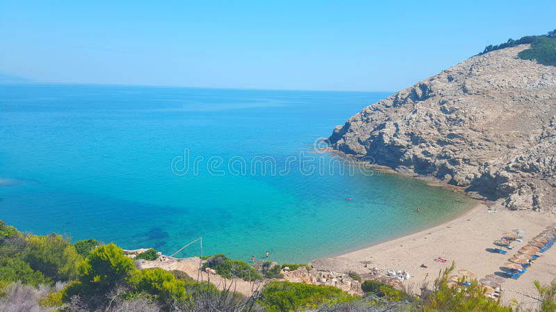 Beautiful Micros Aselinos beach on Skiathos island in Greece, summer day. In June royalty free stock photography