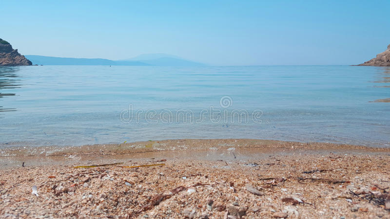 Beautiful Micros Aselinos beach on Skiathos island in Greece, summer day. In June royalty free stock images