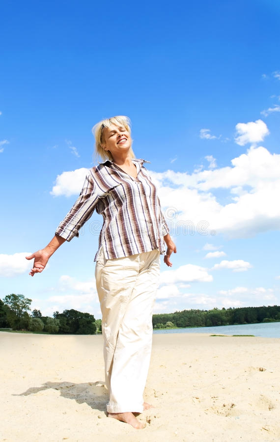 Beautiful middle-aged woman royalty free stock photo