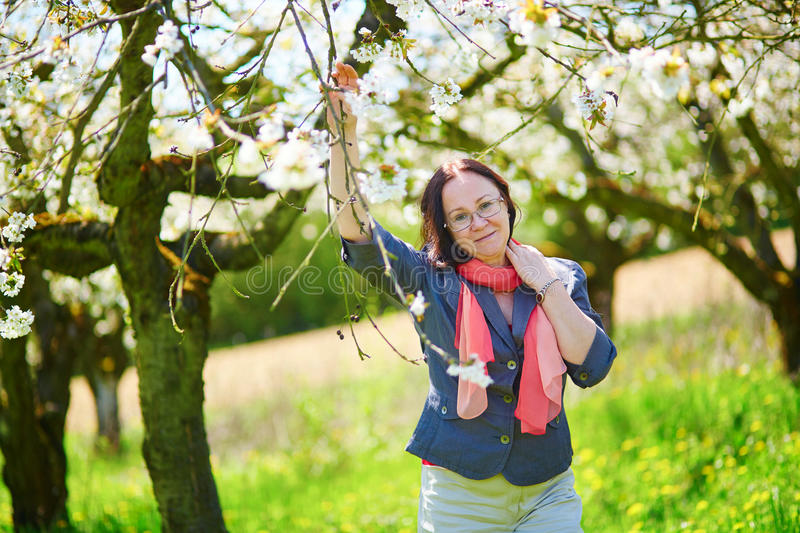 Beautiful middle aged woman in garden. On a spring day stock images
