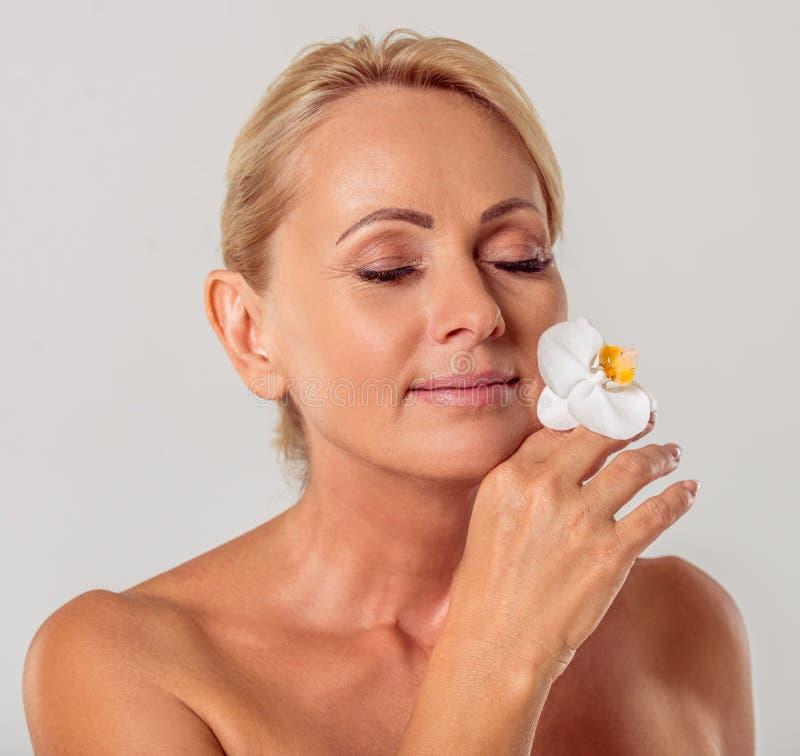 Beautiful middle aged woman stock photo
