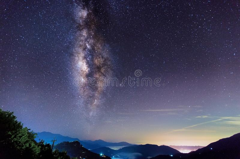 Beautiful Milky Way Galaxy background with mountain range. S. High altitude mountain peak image. Taken at Taiwan in the darkness of the night. Suitable for stock photos