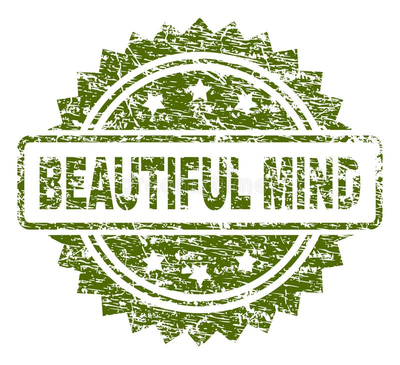 Scratched Textured BEAUTIFUL MIND Stamp Seal royalty free illustration