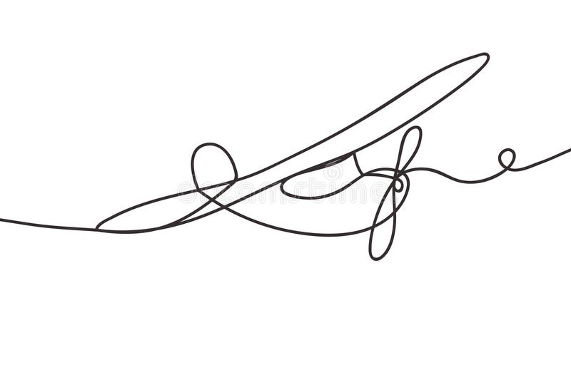 Beautiful minimal continuous line airplane design vector royalty free illustration