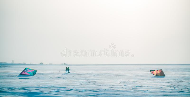 A beautiful, misty morning in the Norwegian hills in winter. White, hazy landscape. royalty free stock photos