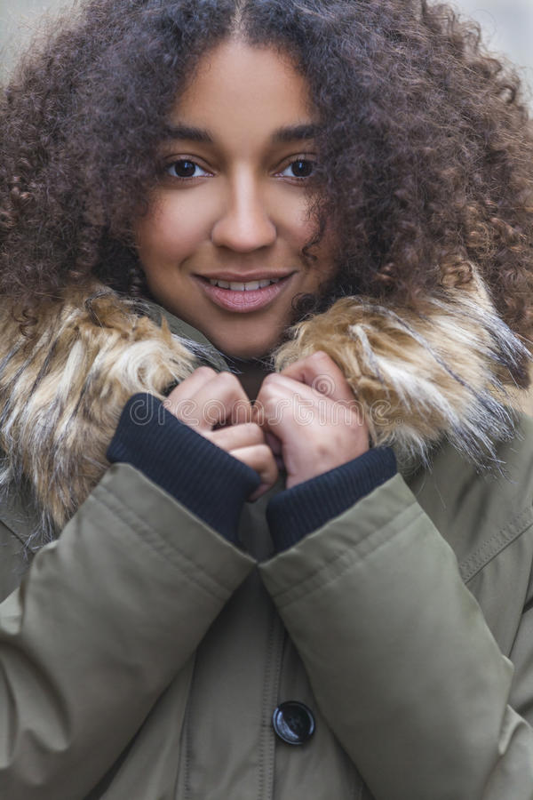Beautiful Mixed Race African American Young Woman royalty free stock images