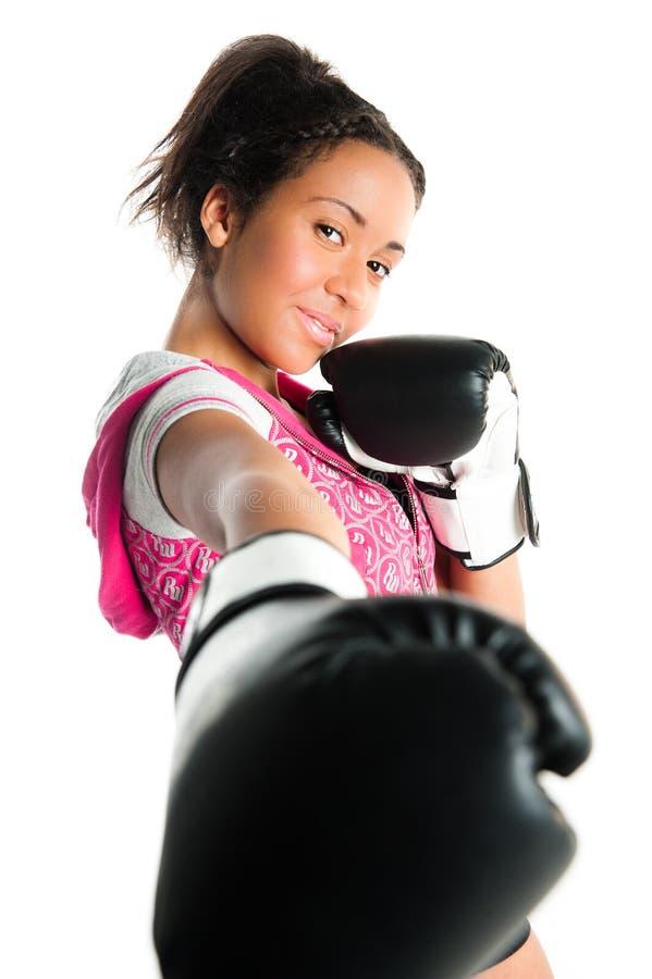 Beautiful mixed race boxing teenager, punching stock photos
