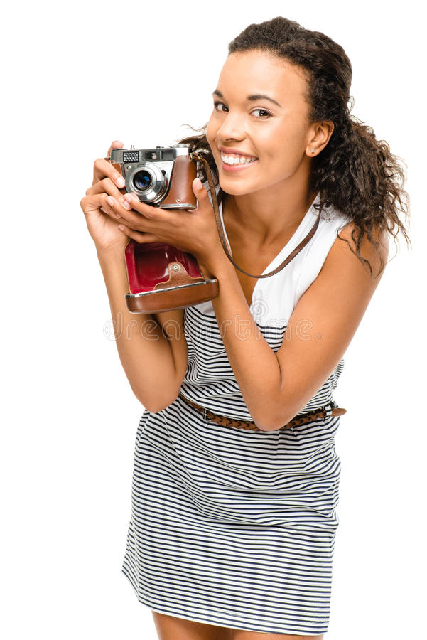 Beautiful mixed race Woman photograher vintage camera portrait i stock image
