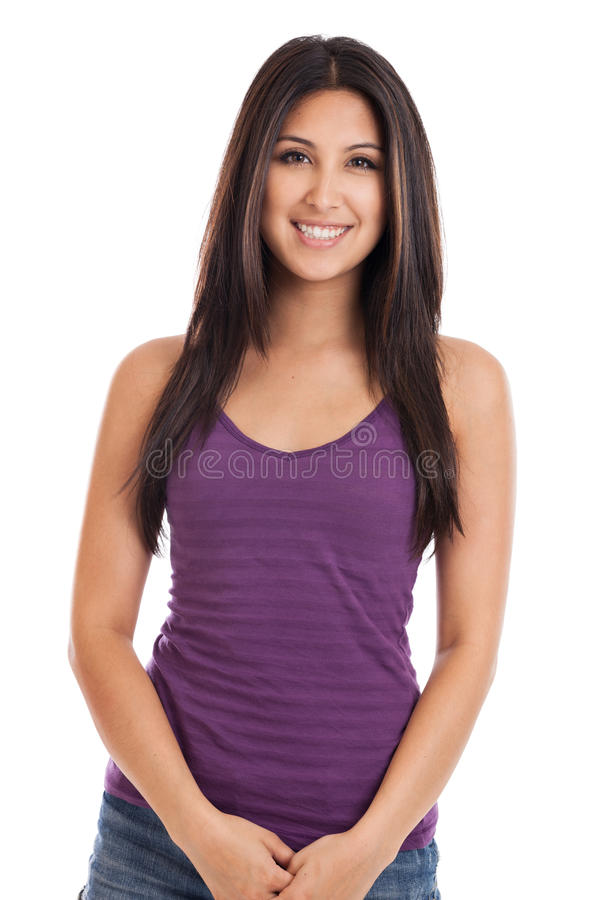 Beautiful Mixed Race Woman Portrait. Portrait of a beautiful early 20s mixed race Mexican Japanese woman in casual tank top looking at camera isolated on white royalty free stock image