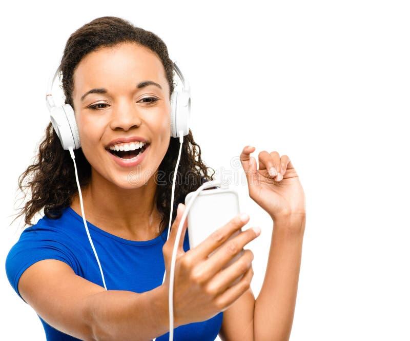 Belle Mixed Race Femme de messagerie vidéo isolé sur blanc Bac Stock Image - image-4408