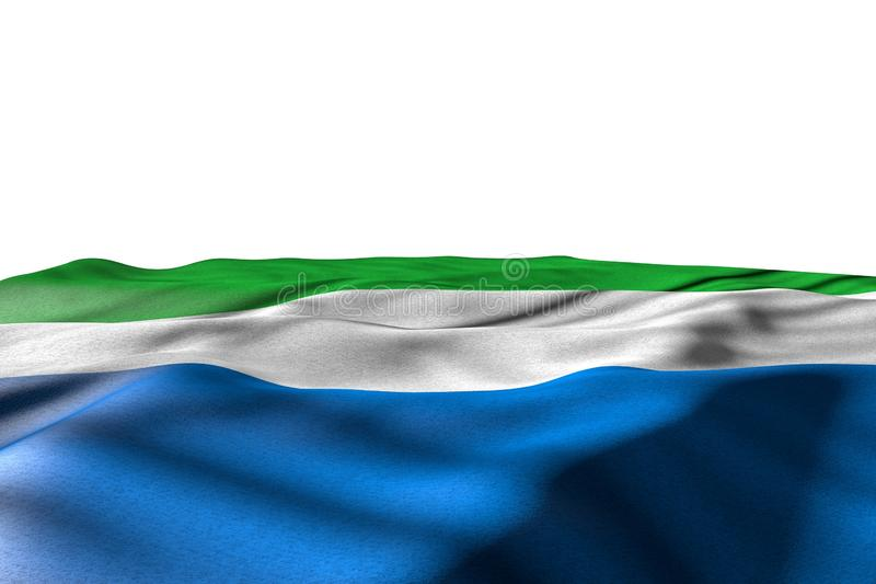 Beautiful mockup image of Sierra Leone flag lying flat with perspective view isolated on white with place for your content - any. Cute feast flag 3d illustration vector illustration