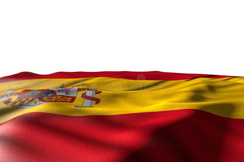Nice day of flag 3d illustration - mockup image of Spain flag lie with perspective view isolated on white with place for your. Beautiful mockup image of Spain vector illustration