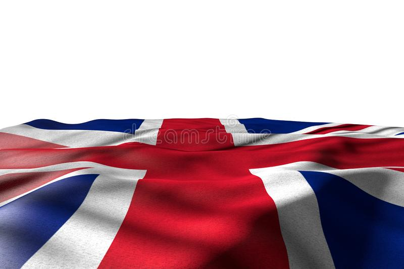 Beautiful mockup photo of United Kingdom UK flag lying with perspective view isolated on white with space for your text - any. Wonderful national holiday flag 3d royalty free illustration